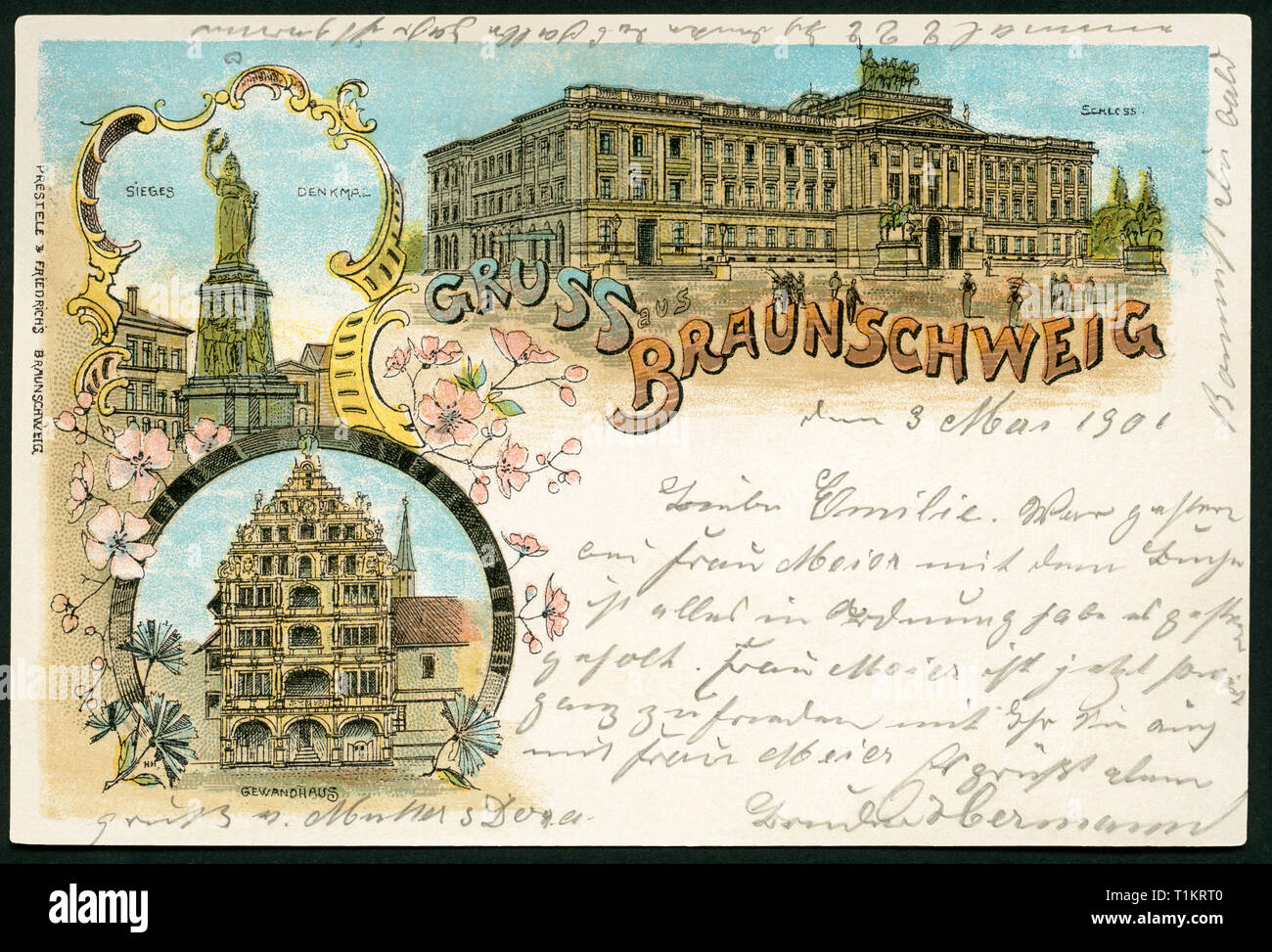 Geografia / viaggi, Germania, Bassa Sassonia, Brunswick, cartolina, inviato 1901., Additional-Rights-Clearance-Info-Not-Available Immagini Stock