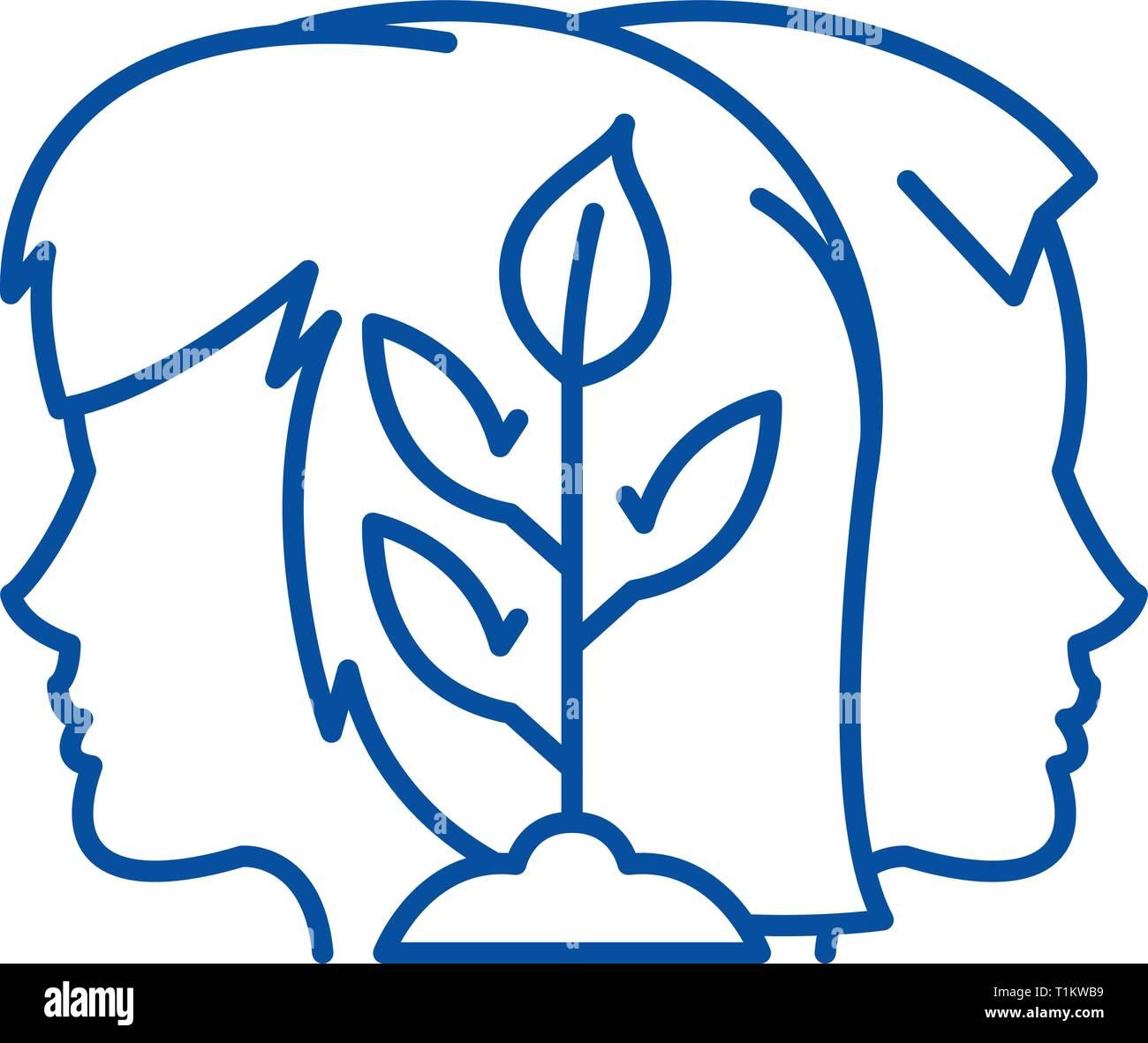 Sinergia icona linea concept. Sinergia piatto simbolo del vettore, segno, illustrazione di contorno. Immagini Stock