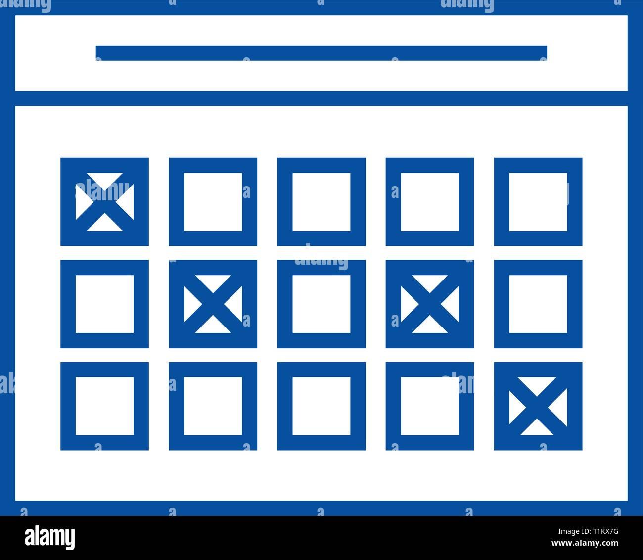Simbolo De Calendario.Calendario Icona Linea Concept Calendario Piatto Simbolo