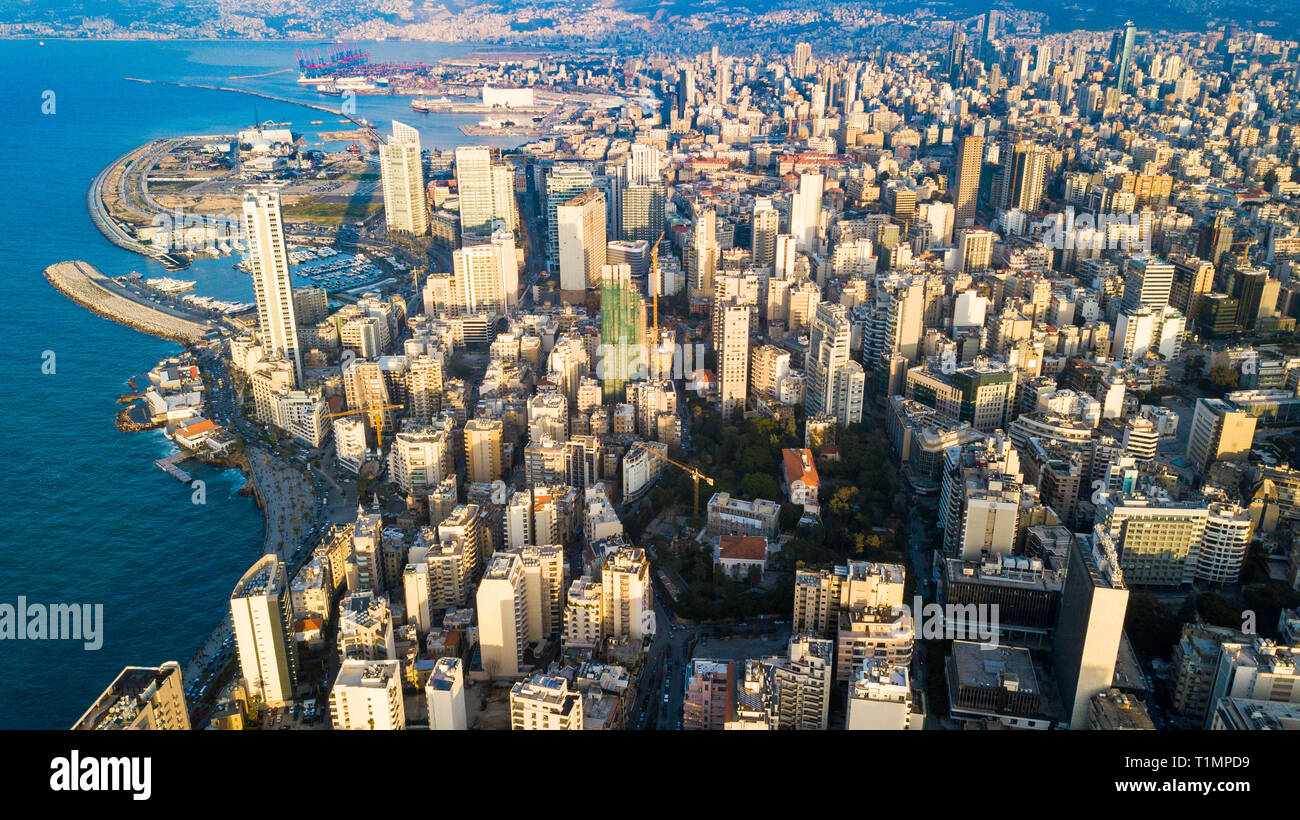 Antenna vista sullo skyline di Beirut, Libano Immagini Stock