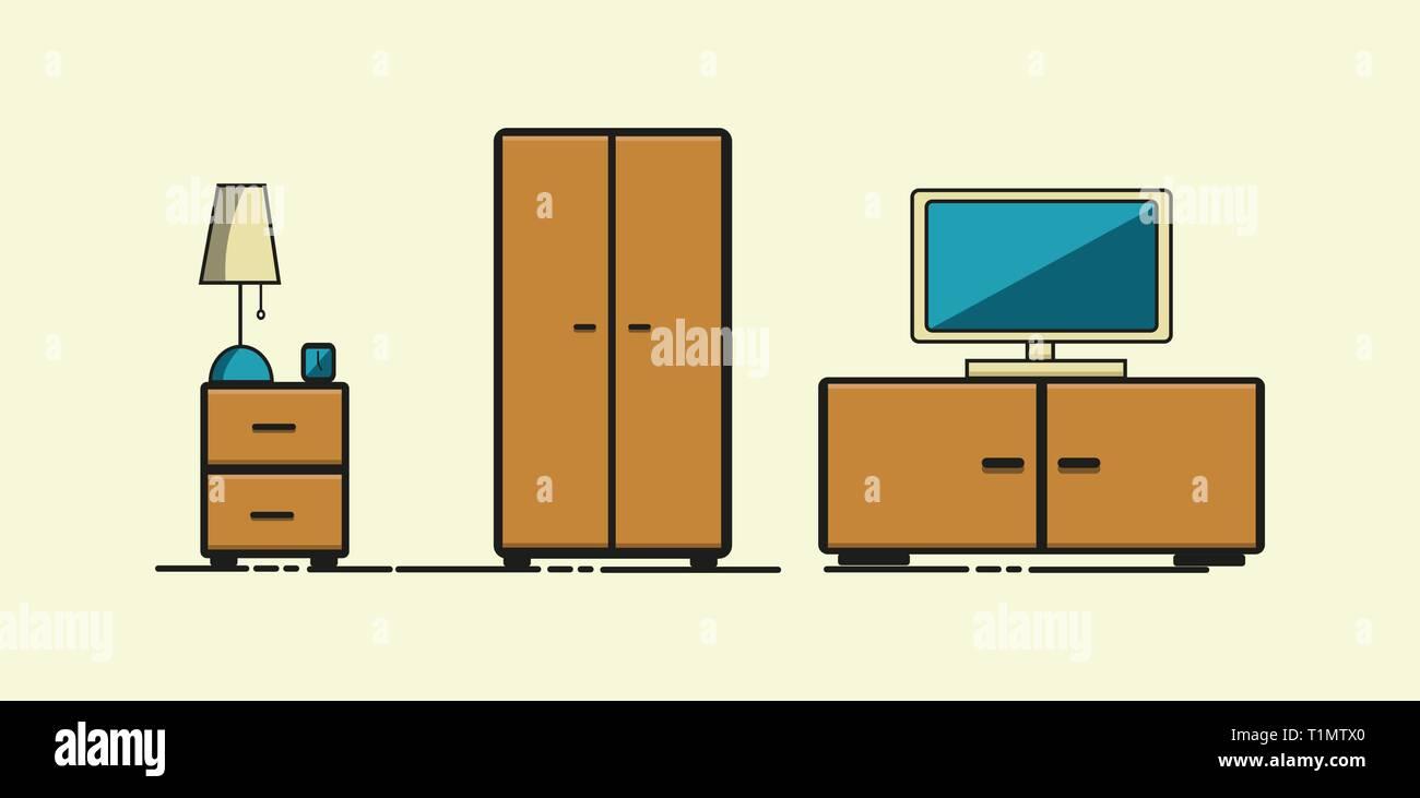Armadio Cassettiera E Comodini.Soggiorno Moderno Minimalismo Appartamento Di Stile Degli Elementi