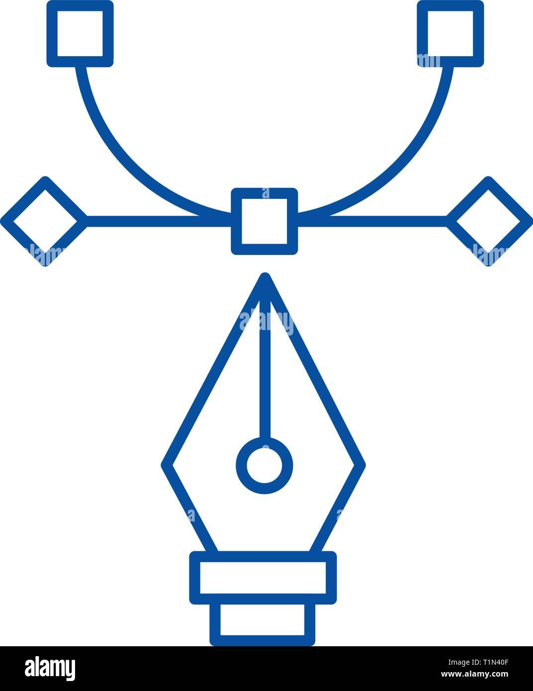 Strumento grafico,attrezzo di curvatura,art design icona linea concept. Strumento grafico,attrezzo di curvatura,art design piatto simbolo del vettore, segno, illustrazione di contorno. Immagini Stock