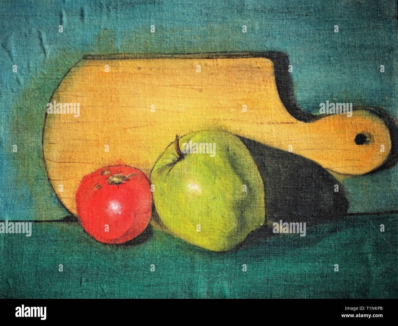 Pomodoro e Mela su uno sfondo di legno. Pittura Di Olio su tela. Immagini Stock
