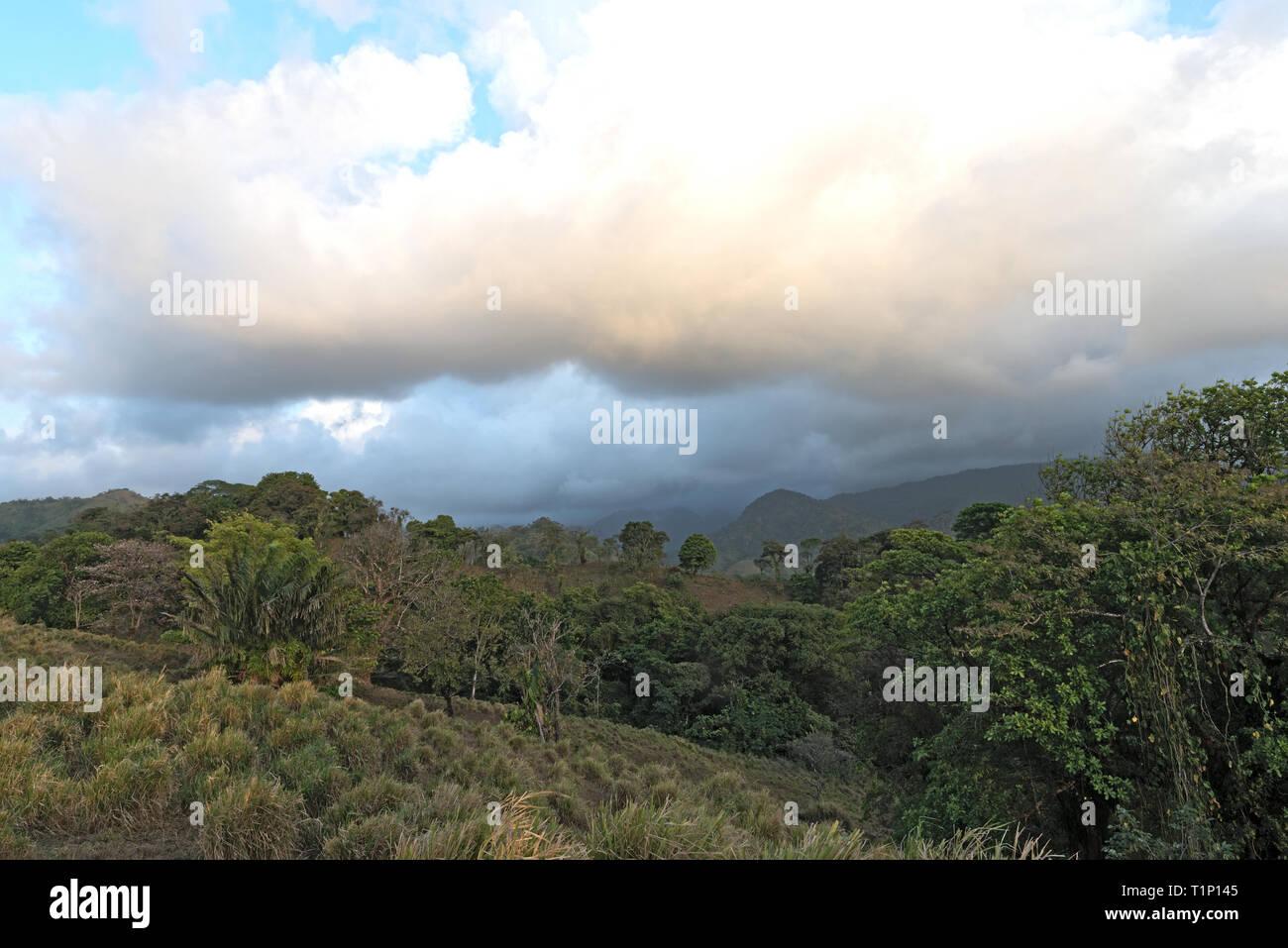 Nuvole sopra la foresta pluviale in Portobelo Panama Immagini Stock