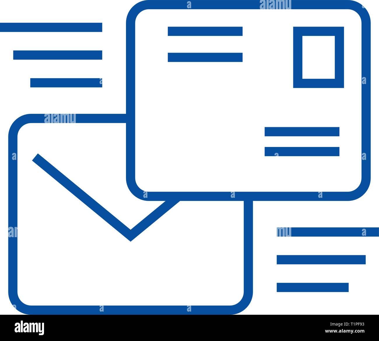 Mailing icona linea concept. Mailing piatto simbolo del vettore, segno, illustrazione di contorno. Immagini Stock