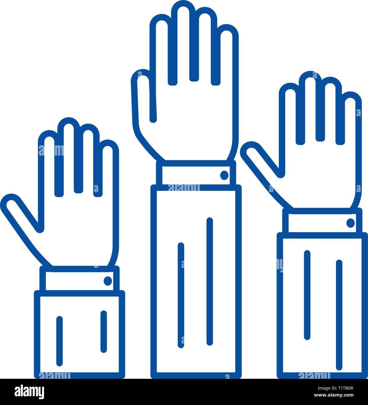 Diritti,tre mani fino icona linea concept. Diritti,tre mani fino piatto simbolo del vettore, segno, illustrazione di contorno. Illustrazione Vettoriale
