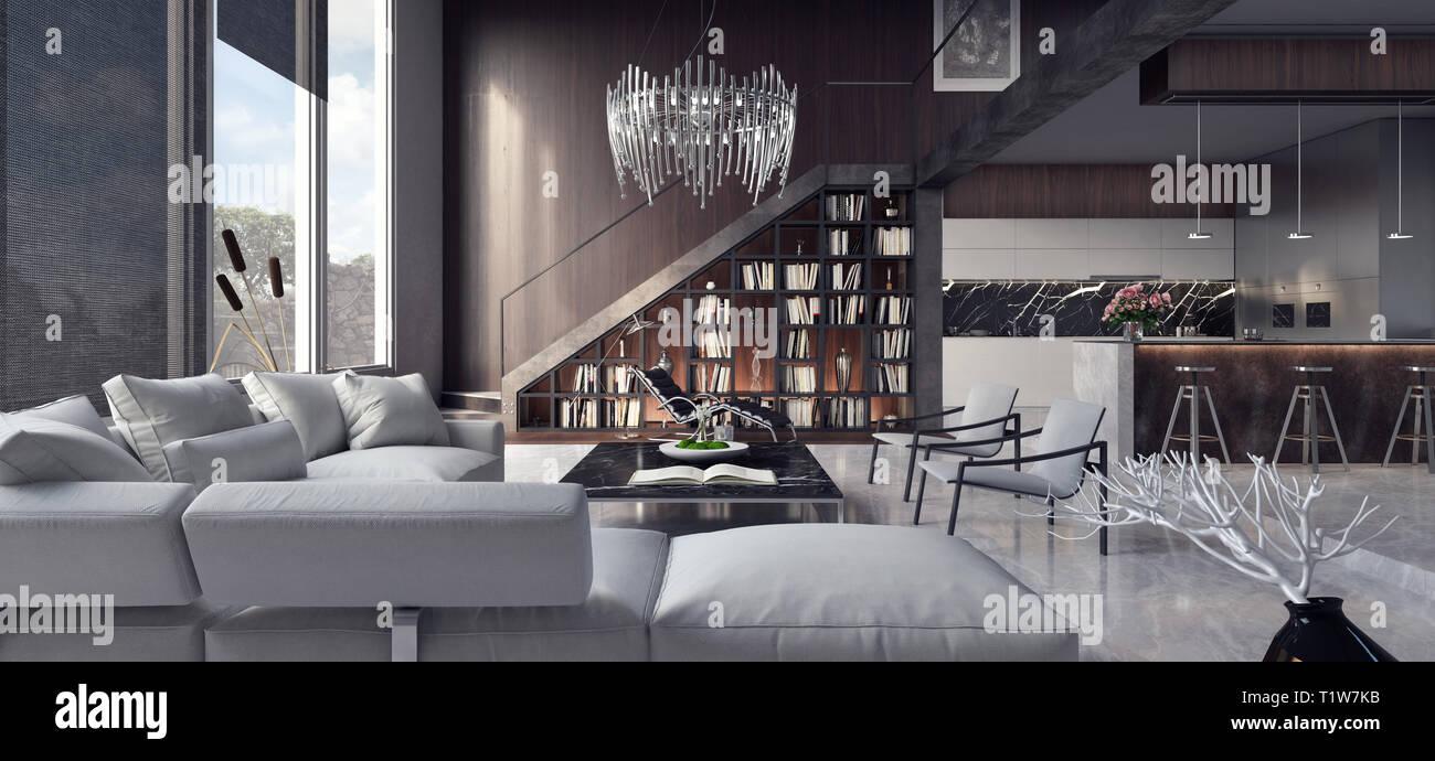 Interni dal design moderno di appartamento con salotto e cucina Rendering 3D Foto Stock