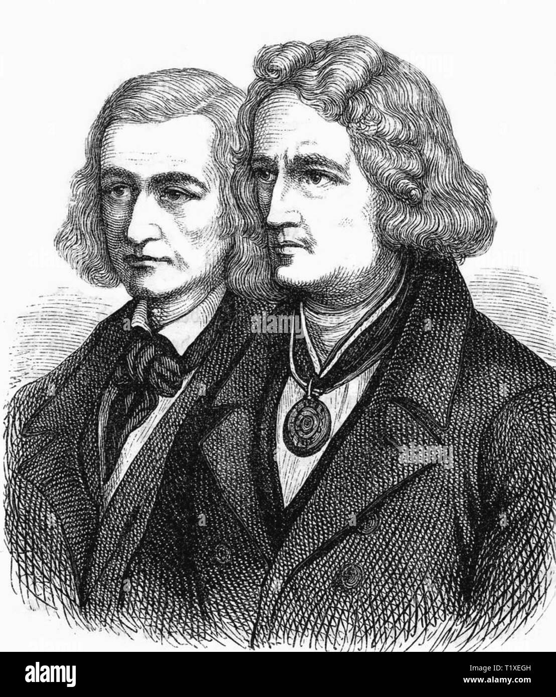 Fratelli Grimm accademico tedesco collezionisti di folklore. Wilhelm Grimm a sinistra e Giacobbe circa 1815 Immagini Stock