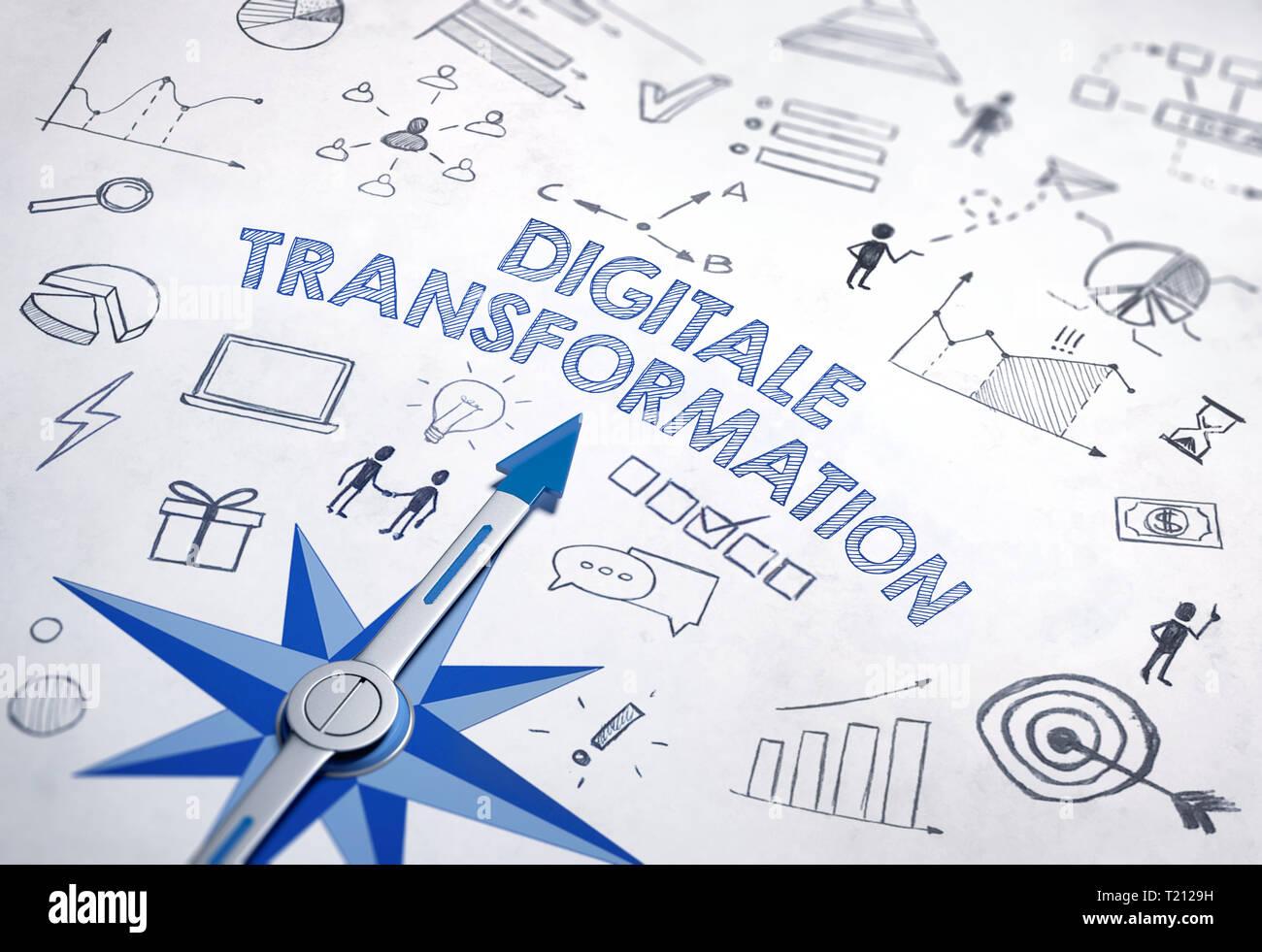 La trasformazione digitale (tedesco per 'Digital trasformazione') scritto in grassetto, il carattere blu in un design con bussola e vari schizzi. 3d Renderi Immagini Stock