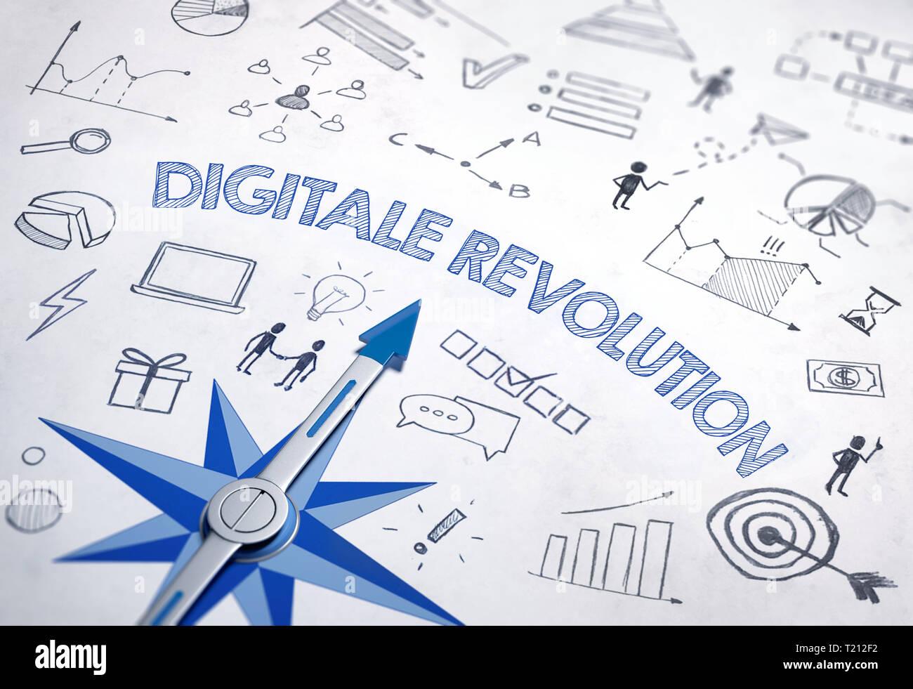 La rivoluzione digitale (tedesco per 'Digital Revolution') scritto in grassetto, il carattere blu in un design con bussola e vari schizzi. Il rendering 3D Immagini Stock