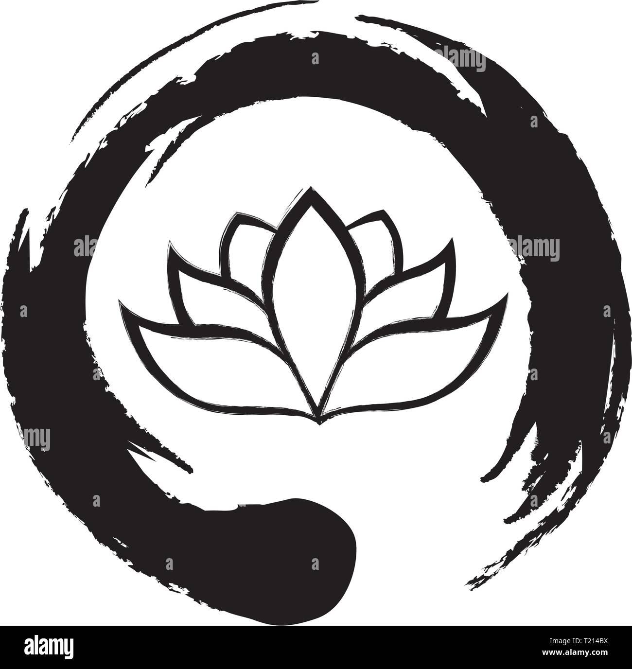 Fiore di loto e simbolo zen Illustrazione Vettoriale