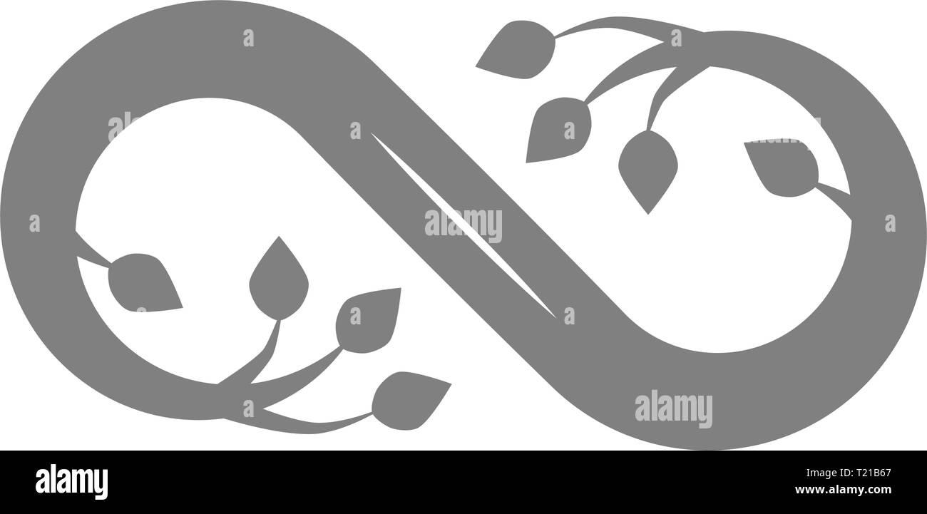 Infinito fioriscono icona simbolo - grigio, isolato - illustrazione vettoriale Immagini Stock