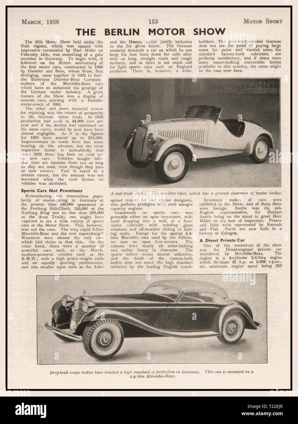 """Pre guerra 1936 Motor Sport Magazine articolo su 1936 Berlin Motor Show che fanno riferimento a """"Herr Hitler"""" e Mercedes Daimler Benz vetture tedesche Immagini Stock"""
