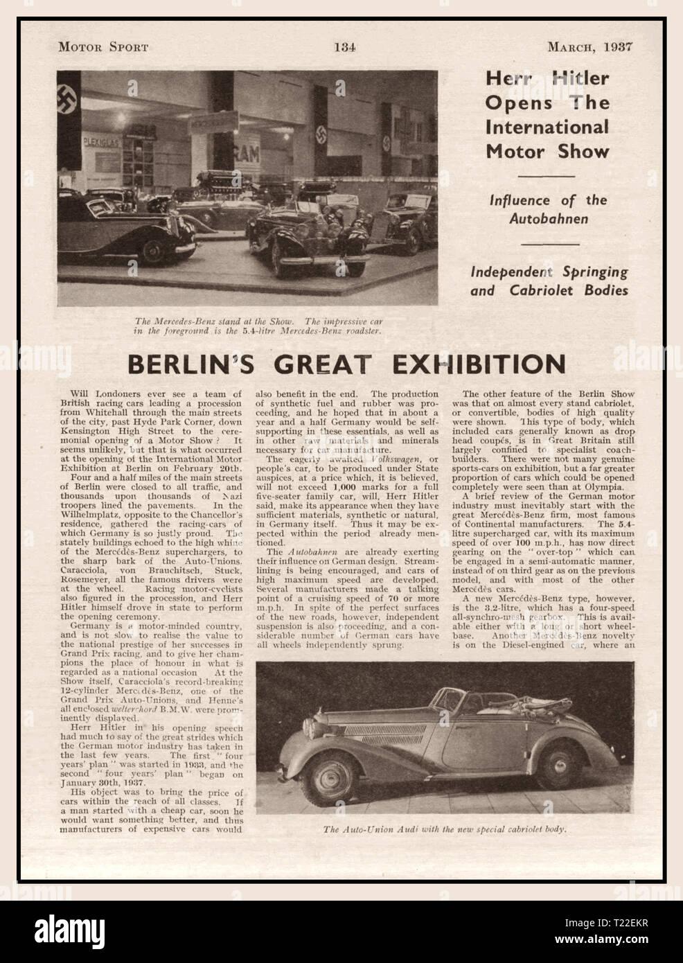 """Pre guerra 1937 Motor Sport Magazine articolo su 1936 Berlin Motor Show che fanno riferimento a """"Herr Hitler apre la International Motor Show"""" e Mercedes Daimler Benz vetture tedesche Immagini Stock"""