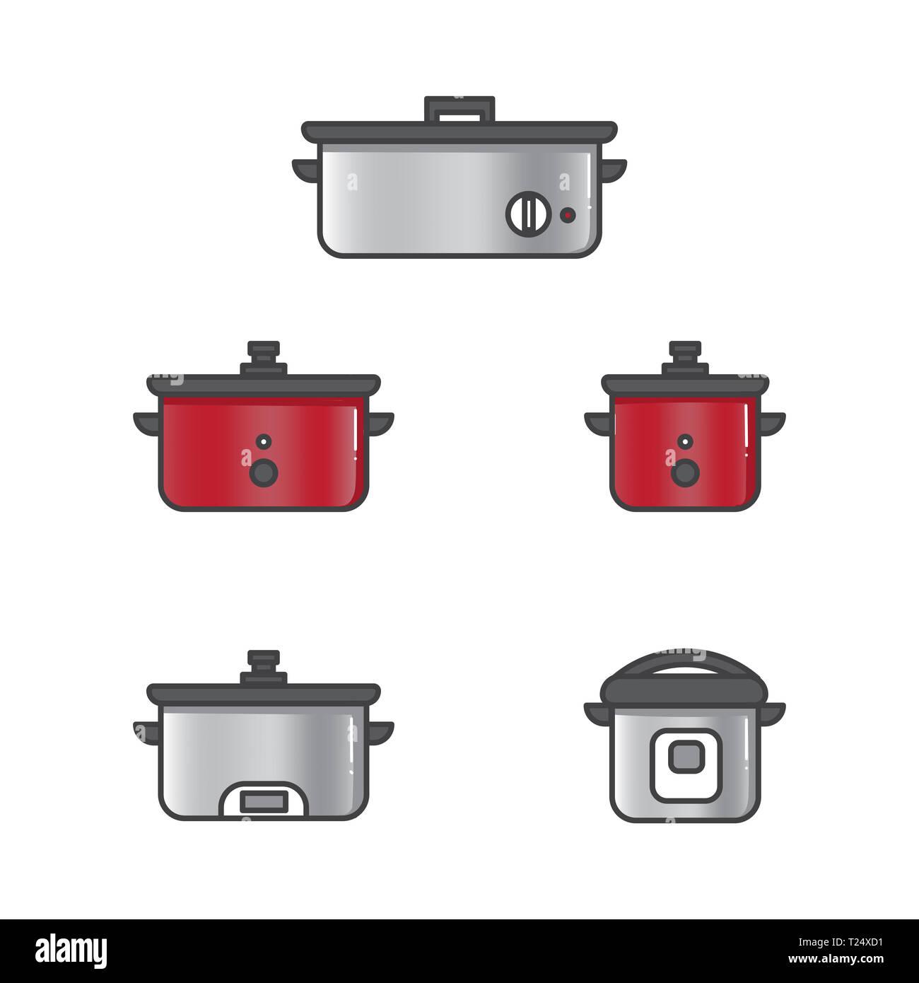 Set di illustrazione vettoriale slow cooker per il riso e altri alimenti in cucina prepara piatti di stile design Immagini Stock