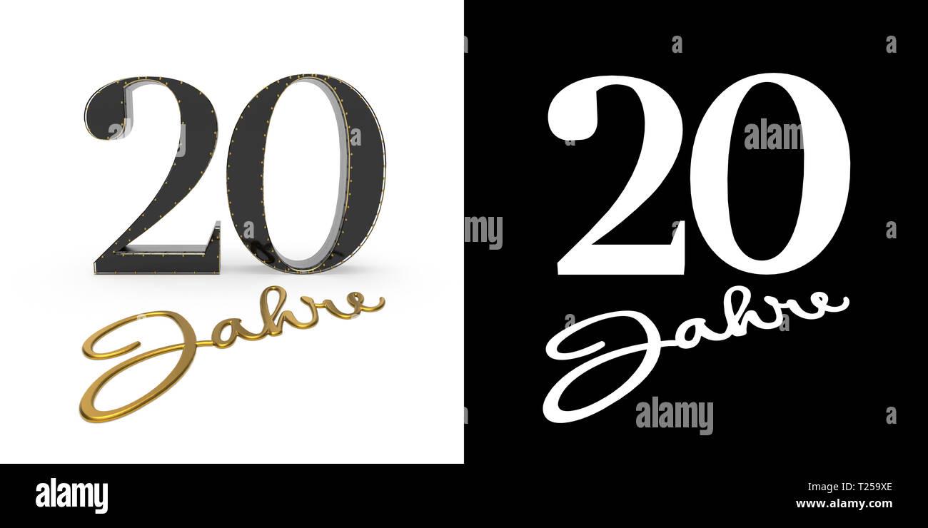 Tedesco Numero d'oro venti anni (numero venti anni) e l'iscrizione anni con ombra e canale alfa. Traduzione dal tedesco - anni. Immagini Stock