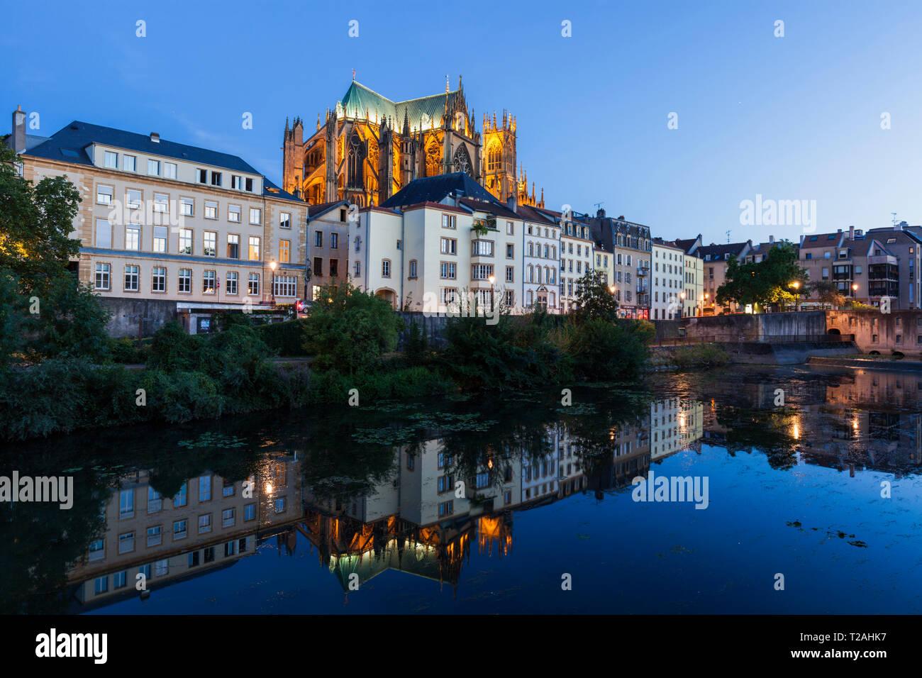 Cattedrale di Metz al tramonto in Francia Immagini Stock