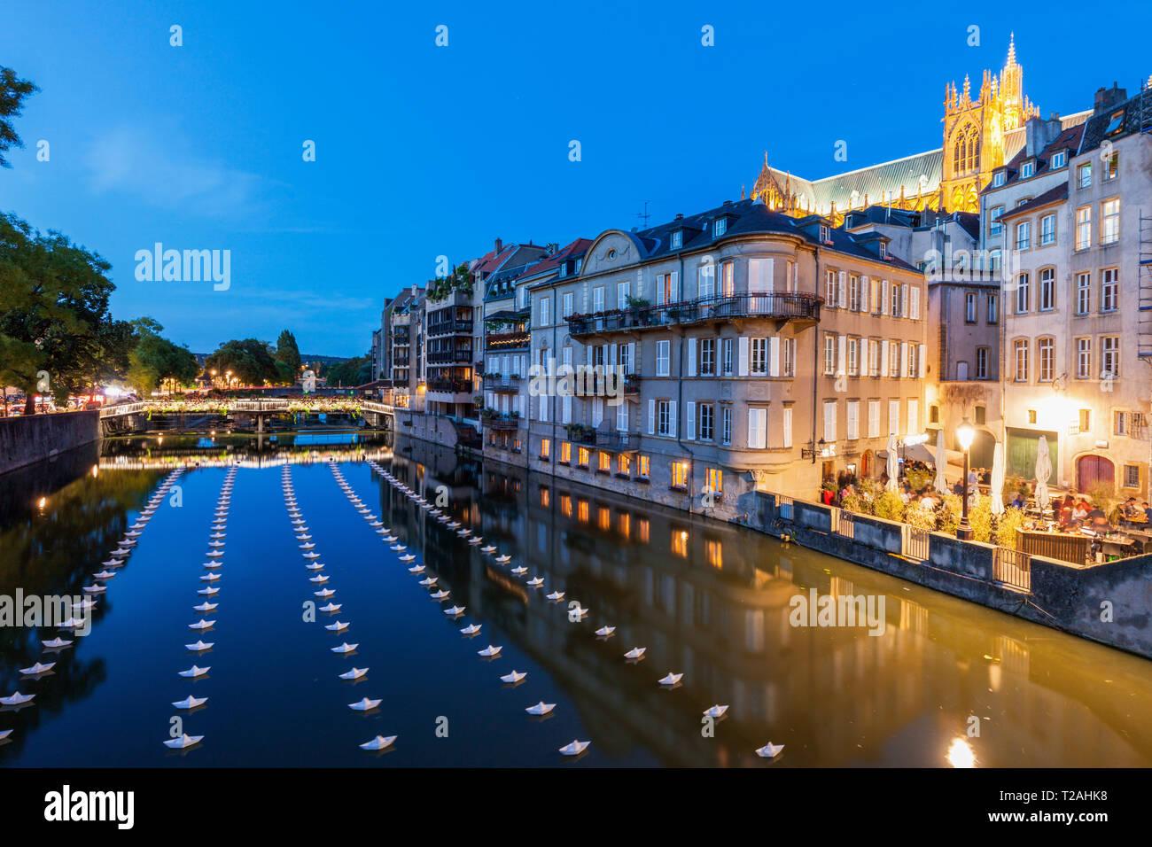 Notte a Metz, Francia Immagini Stock