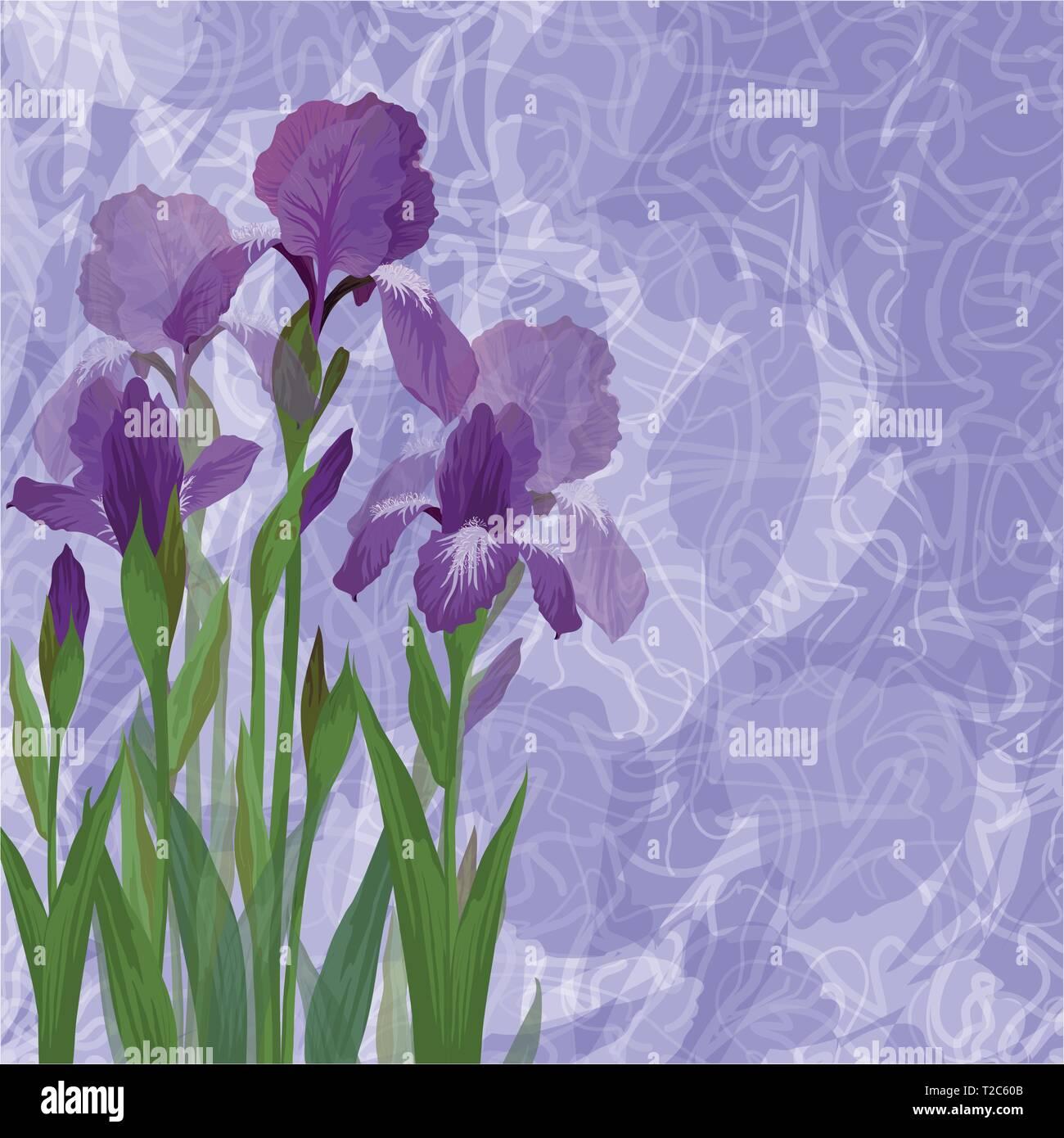 Fiori iris in astratto, sfondo immagine per vacanza design. Eps vettoriali10, contiene i lucidi Immagini Stock