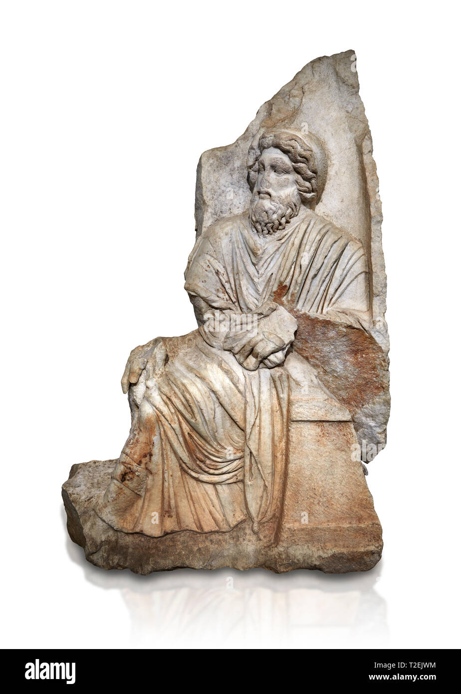 Sebasteion romana scultura in rilievo di un dio seduto o re, , Aphrodisias museo, Aphrodisias, Turchia. Un vecchio barbuto dio mitologici o Re s Immagini Stock