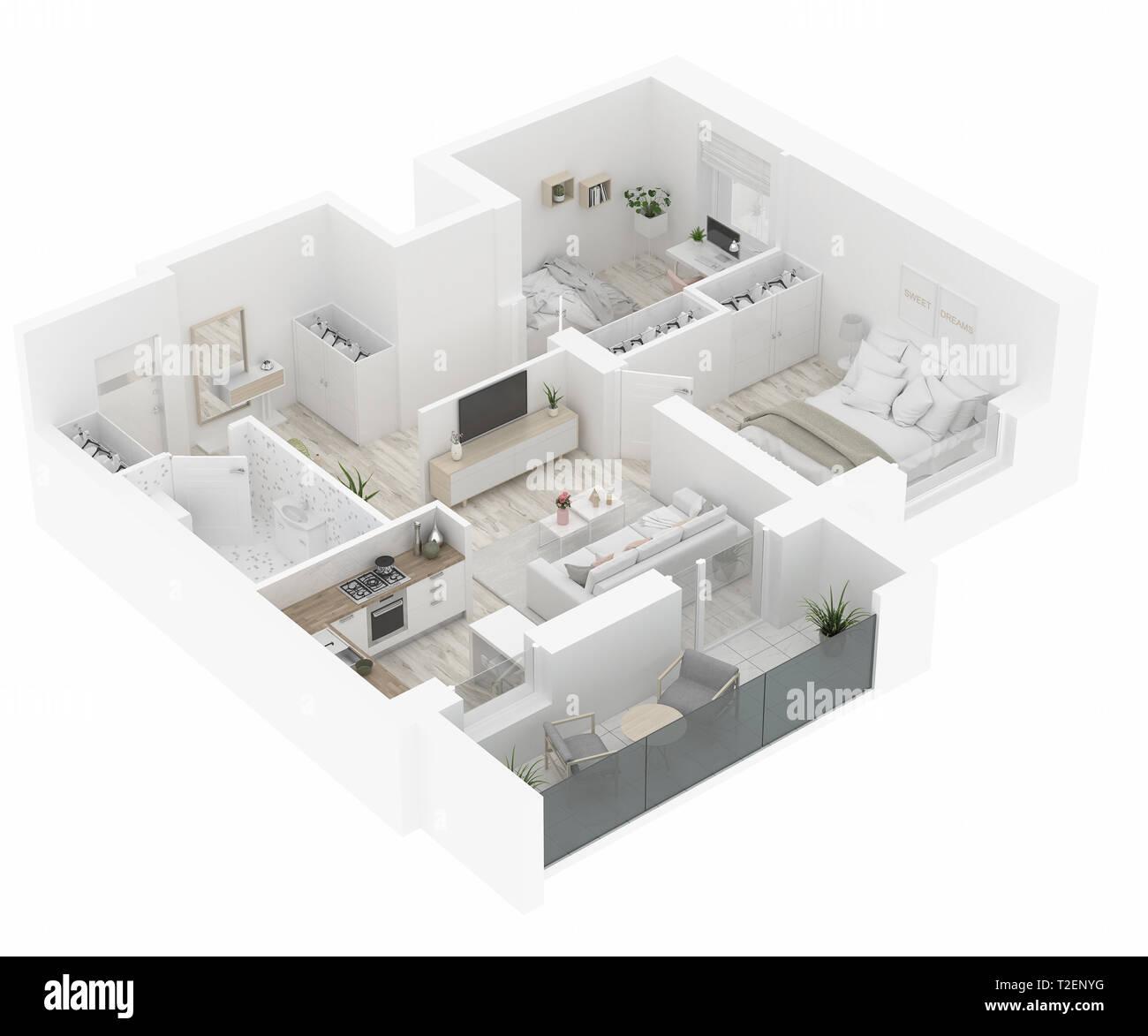 Piante Da Appartamento 3d.Home Pianta Vista Dall Alto Appartamento Interno Isolato Su