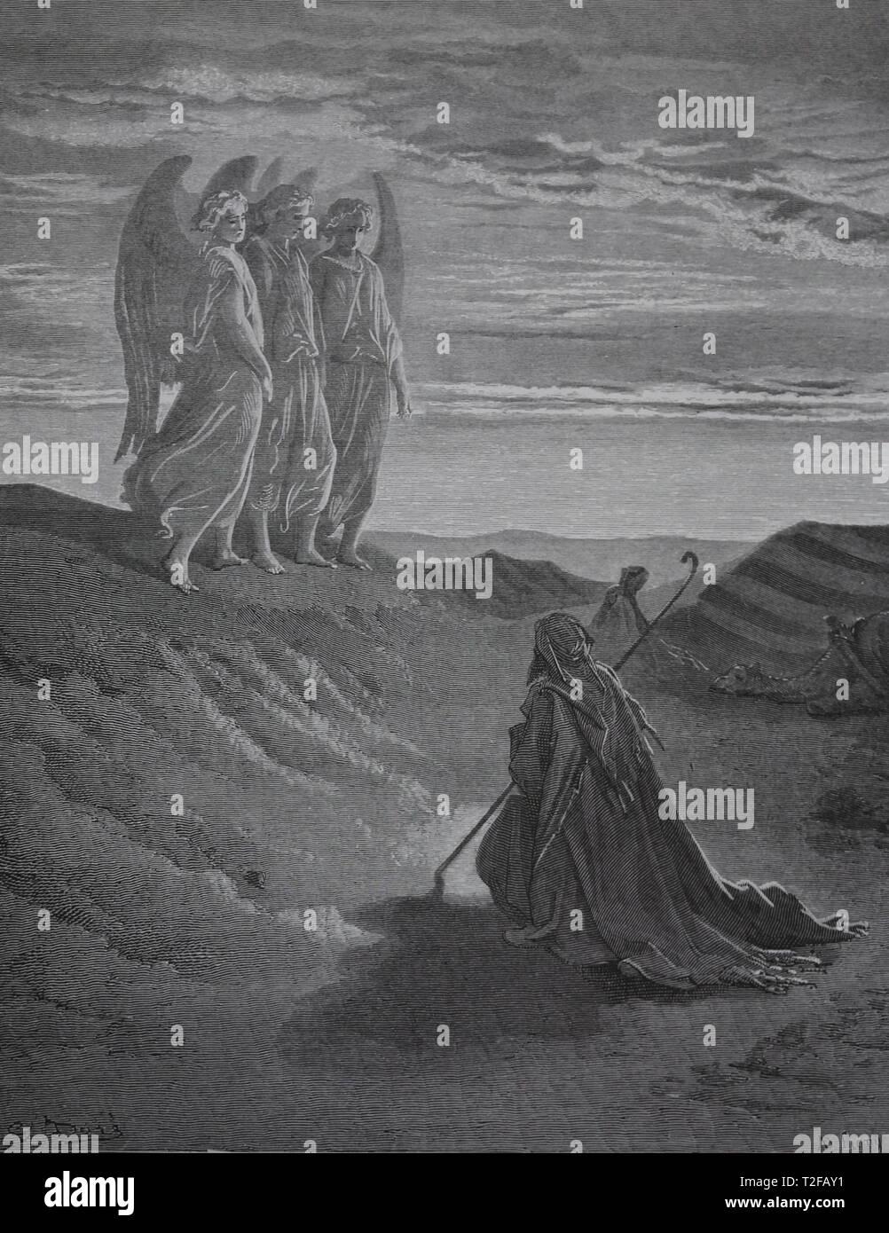 Genesi. Abramo e i tre angeli. La Bibbia. Genesi. Incisione di Gustave Dore, 1866. Immagini Stock