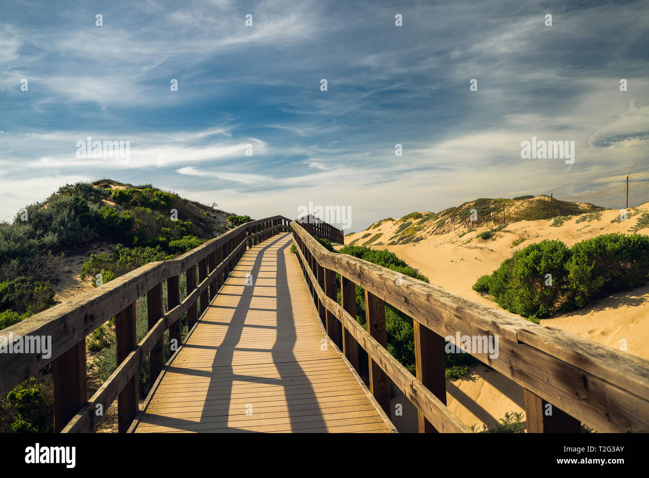 Legno rustico Beach Boardwalk attraverso le dune di sabbia. Oso Flaco Lago Area naturale del parco statale, California Foto Stock