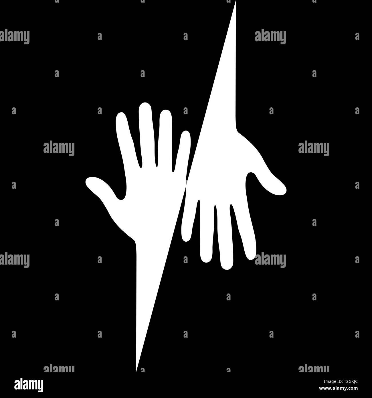 Silhouette bianca di due mani con le dita su sfondo nero, design semplice Illustrazione Vettoriale