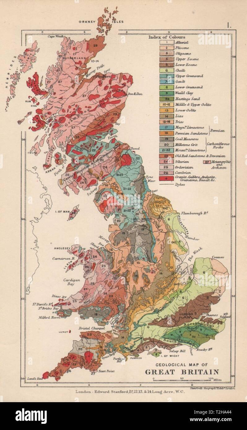 Immagini Della Cartina Della Gran Bretagna.Regno Unito Mappa Geologica Della Gran Bretagna 1913 Antico Piano Vintage Chart Foto Stock Alamy