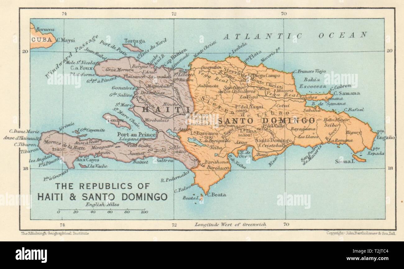 Cartina Geografica Haiti.Hispaniola Haiti E Santo Domingo Repubblica Dominicana Vintage Map 1931 Foto Stock Alamy