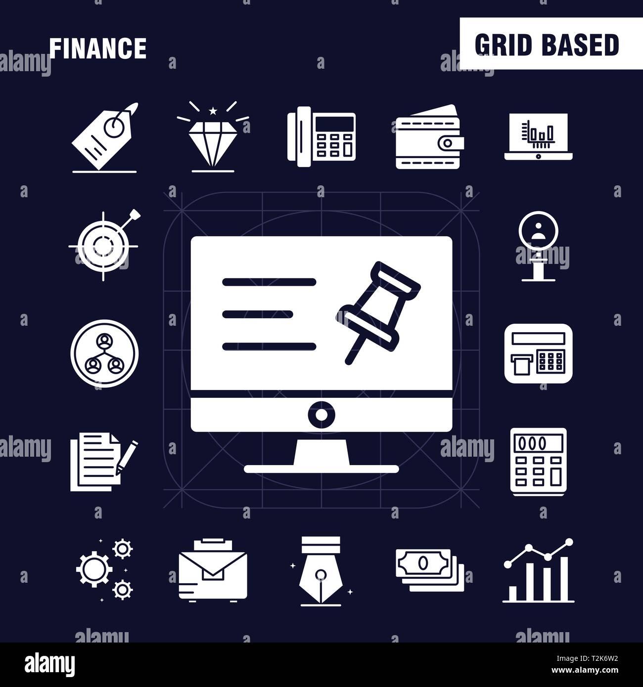 Ricerca Per Immagini Mobile finanza glifo solido set di icone per infographics, mobile