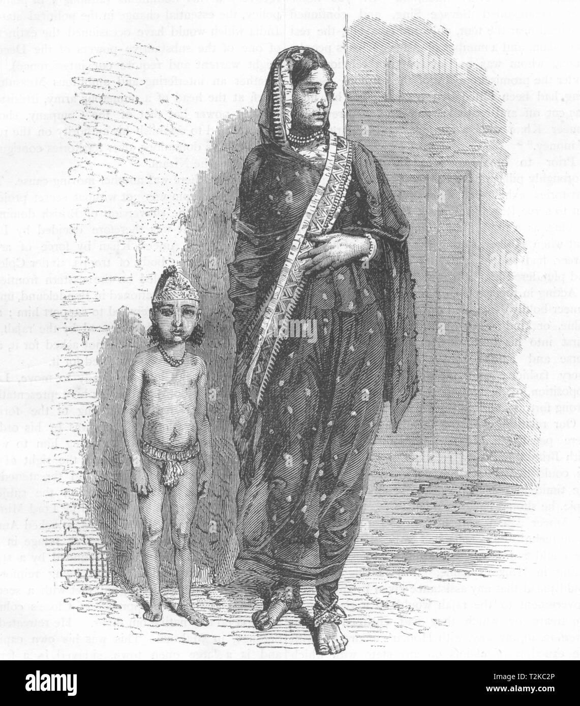 INDIA. Mussulman donna di Bhopal c1880 antica vintage delle immagini di stampa Immagini Stock