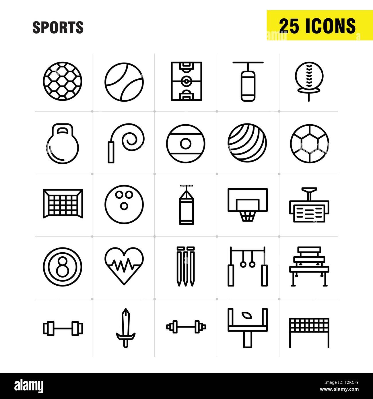 Linea sport Icon Pack per i progettisti e gli sviluppatori