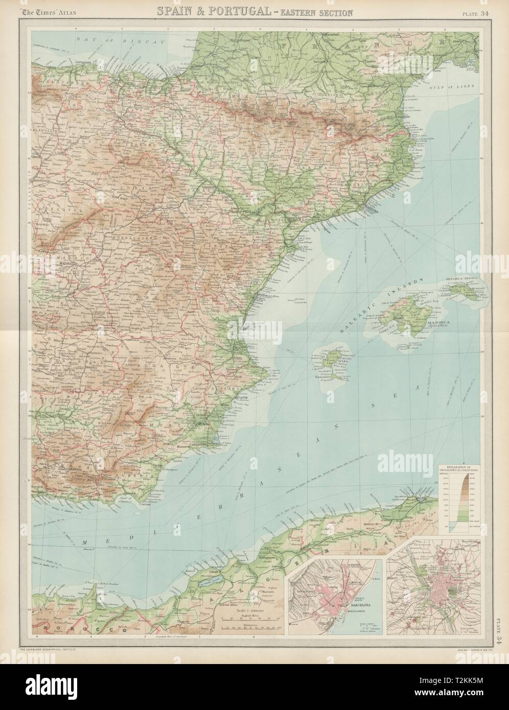 Mappa Spagna Orientale.Orientale Della Spagna Isole Baleari Madrid Barcellona I Tempi 1922 Mappa Vecchia Foto Stock Alamy