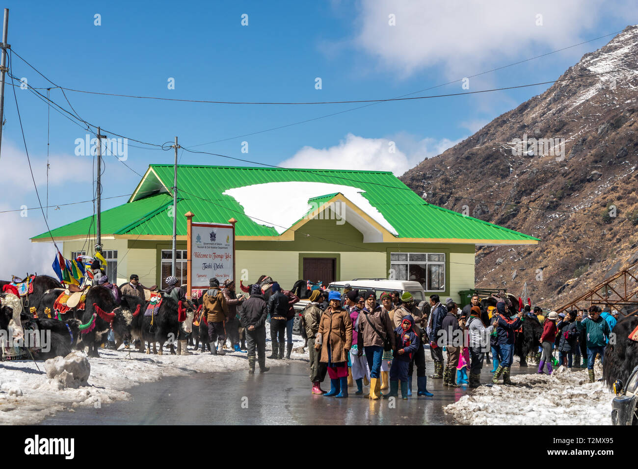 Marzo 2018 Tsomgo o changu ( Tashi Delek ) Lago, a est il Sikkim, India. Marzo 2018 Immagini Stock