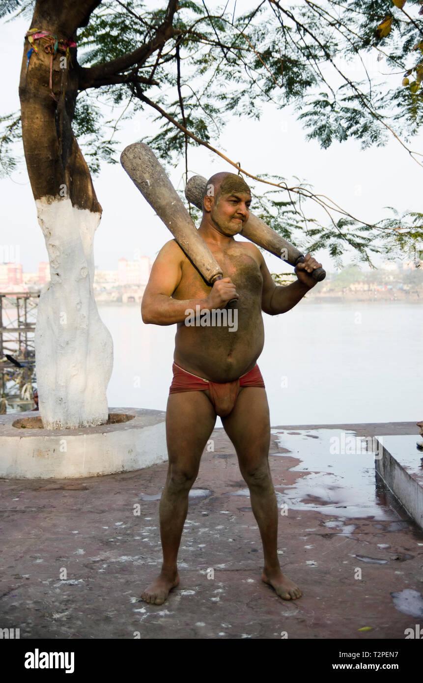 Kushti lottatore in Kolkata, India Immagini Stock