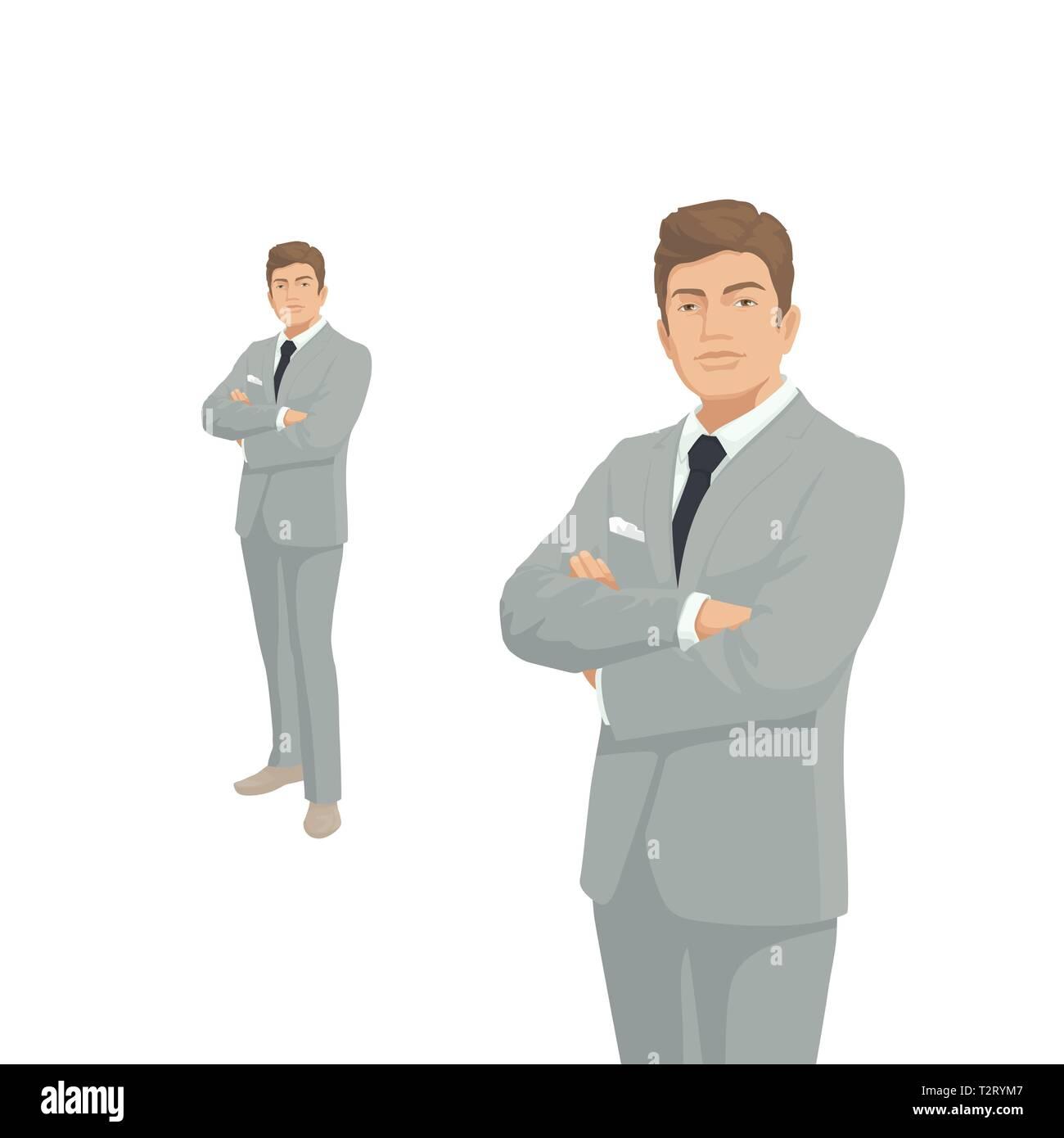 3615ee4ebaa4 Imprenditore elegante in grigio costume. Il Boss, imprenditore, manager.  Persone di carattere. Ritratto di lunghezza completa. Vista frontale l'uomo.