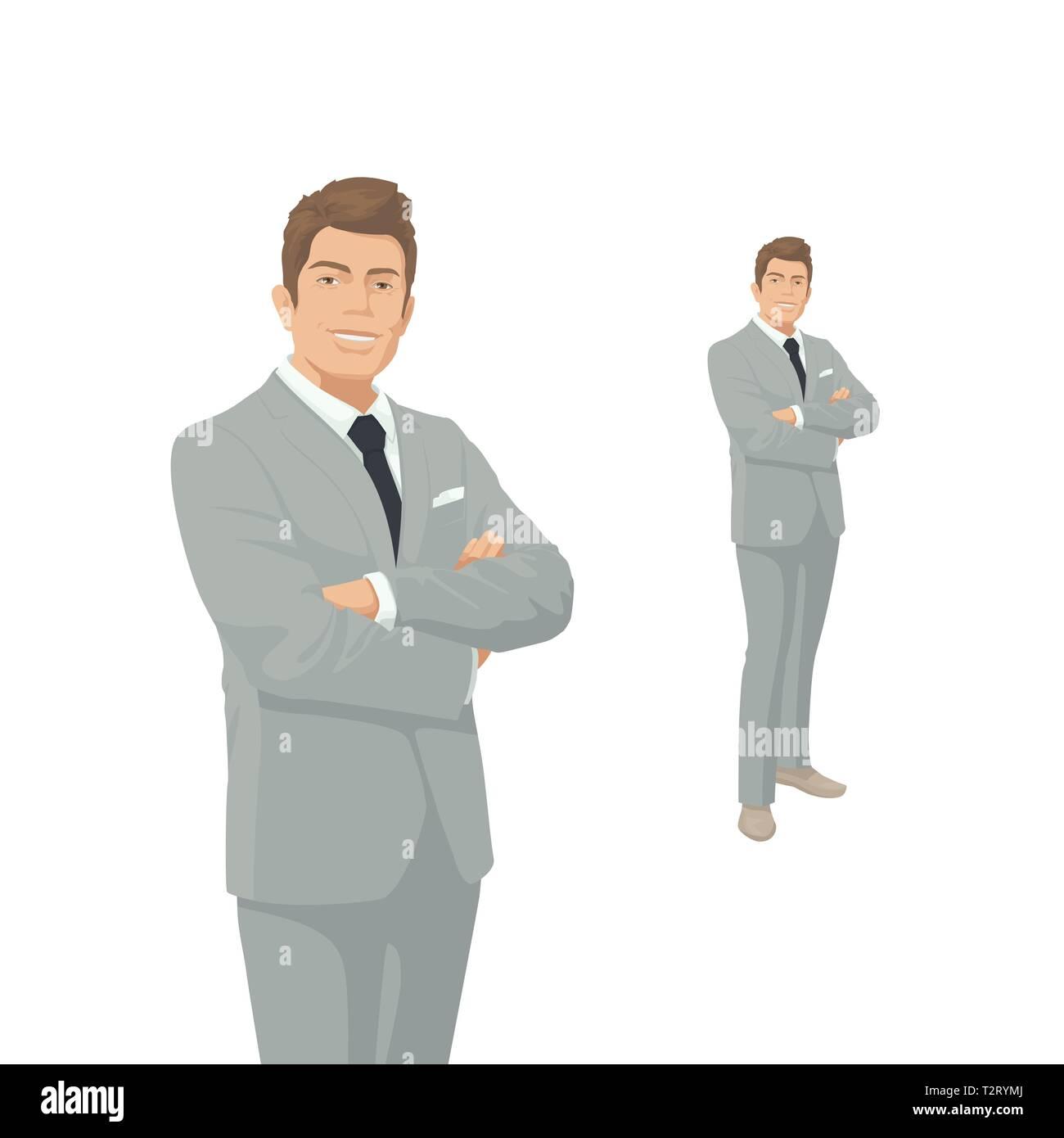 372b0cdec2b7 Imprenditore elegante in grigio costume. Il Boss, manager, imprenditore.  Sorriso. Persone di carattere. Ritratto di lunghezza completa.