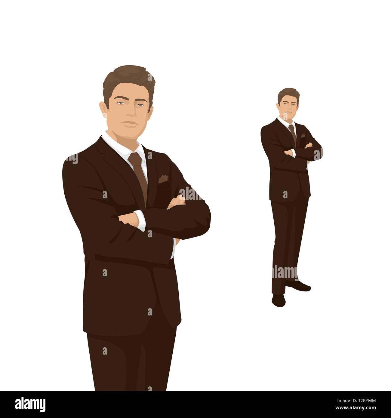 25b41275edde Imprenditore elegante in costume marrone. Il Boss, manager, imprenditore.  Persone di carattere. Ritratto di lunghezza completa. Vista frontale l'uomo.