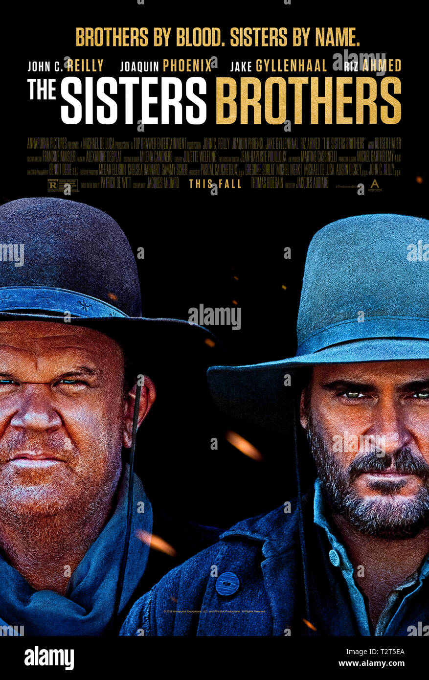 Le sorelle fratelli (2018) diretto da Jacques Audiard e interpretato da John C. Reilly, Joaquin Phoenix e Jake Gyllenhaal. Due assassini perseguire un gold prospector in tutta l'America. Immagini Stock