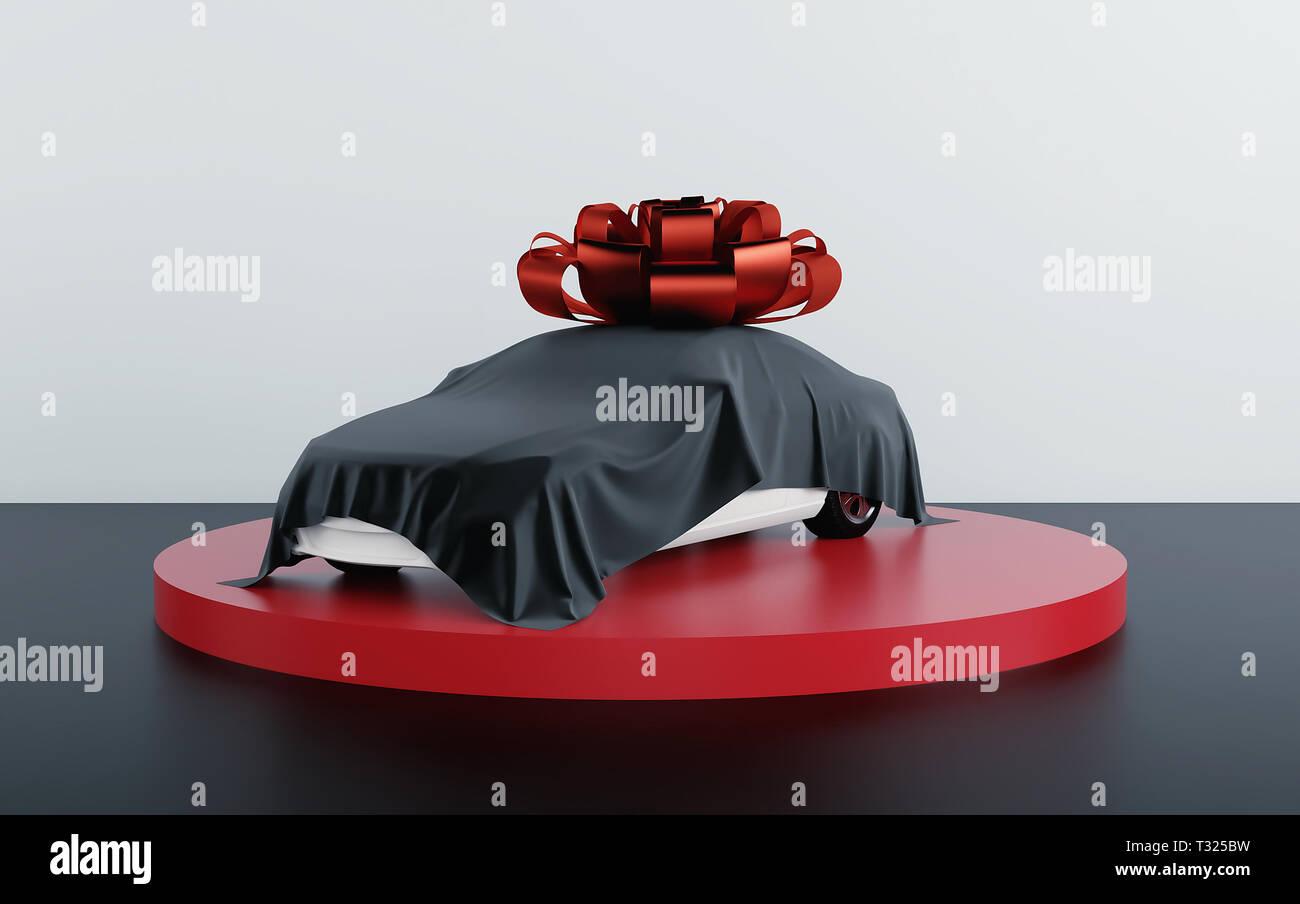 Auto coperto da tessuto nero con dono bow-nodo. 3D render Immagini Stock