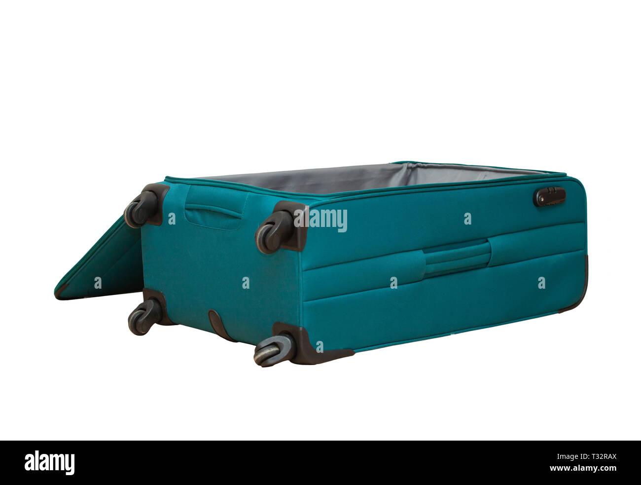 6e7666908a Aperto vuoto grande valigia del viaggiatore isolato su sfondo bianco  Immagini Stock