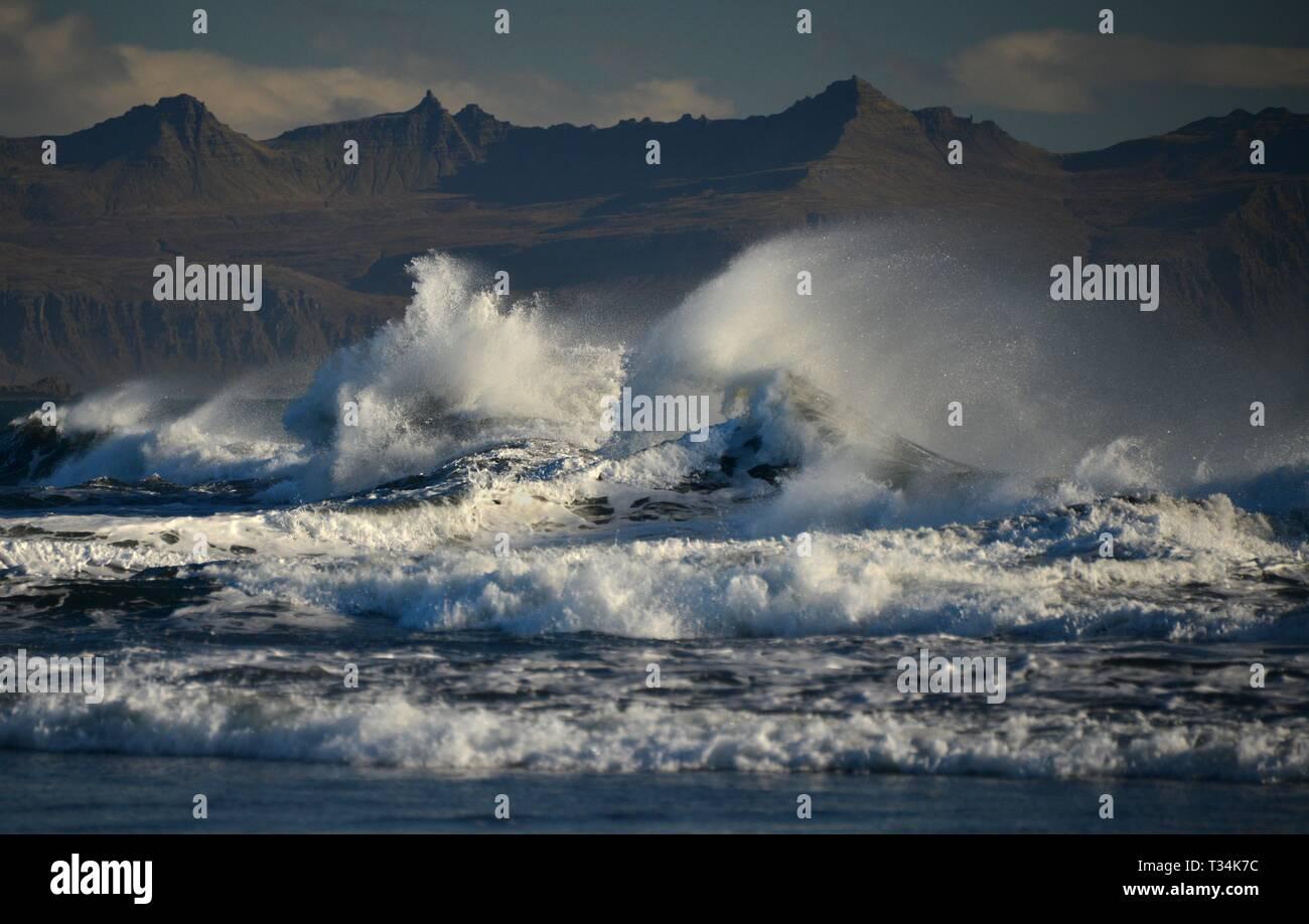 Onde che si infrangono sulla costa Laekjavik, Islanda Foto Stock