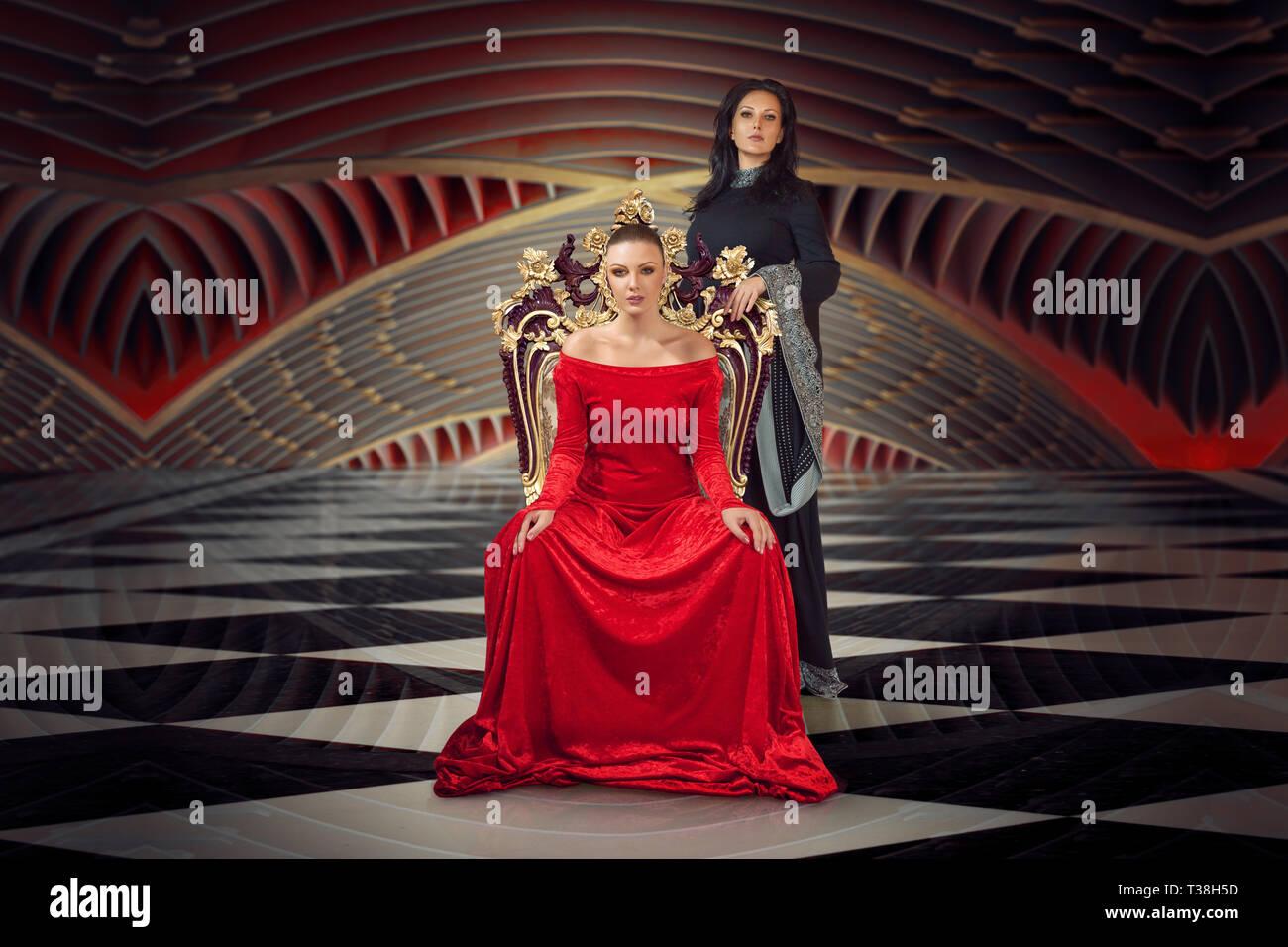 e3b844df8f0c Una donna in un sontuoso abito vestito seduto su una del trono della  Regina