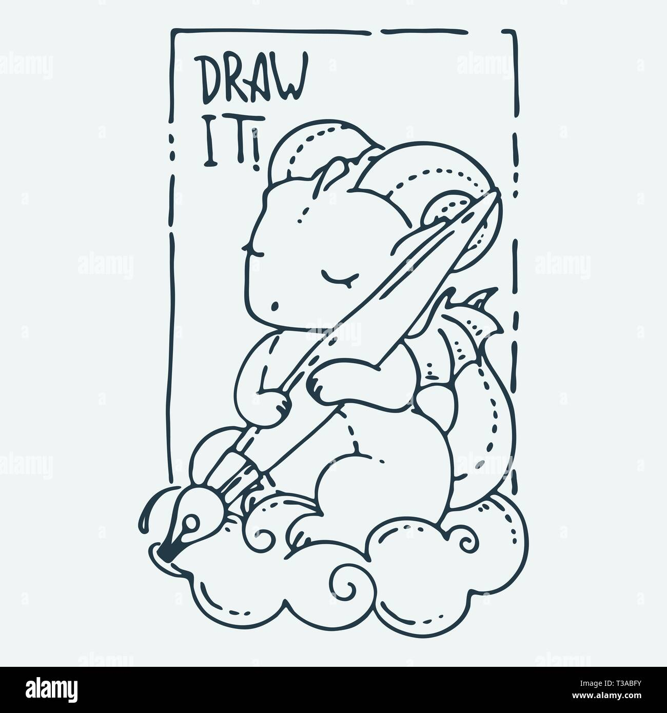 Disegnare Cartoon Carino Animale Vector Clip Art Illustrazione Per