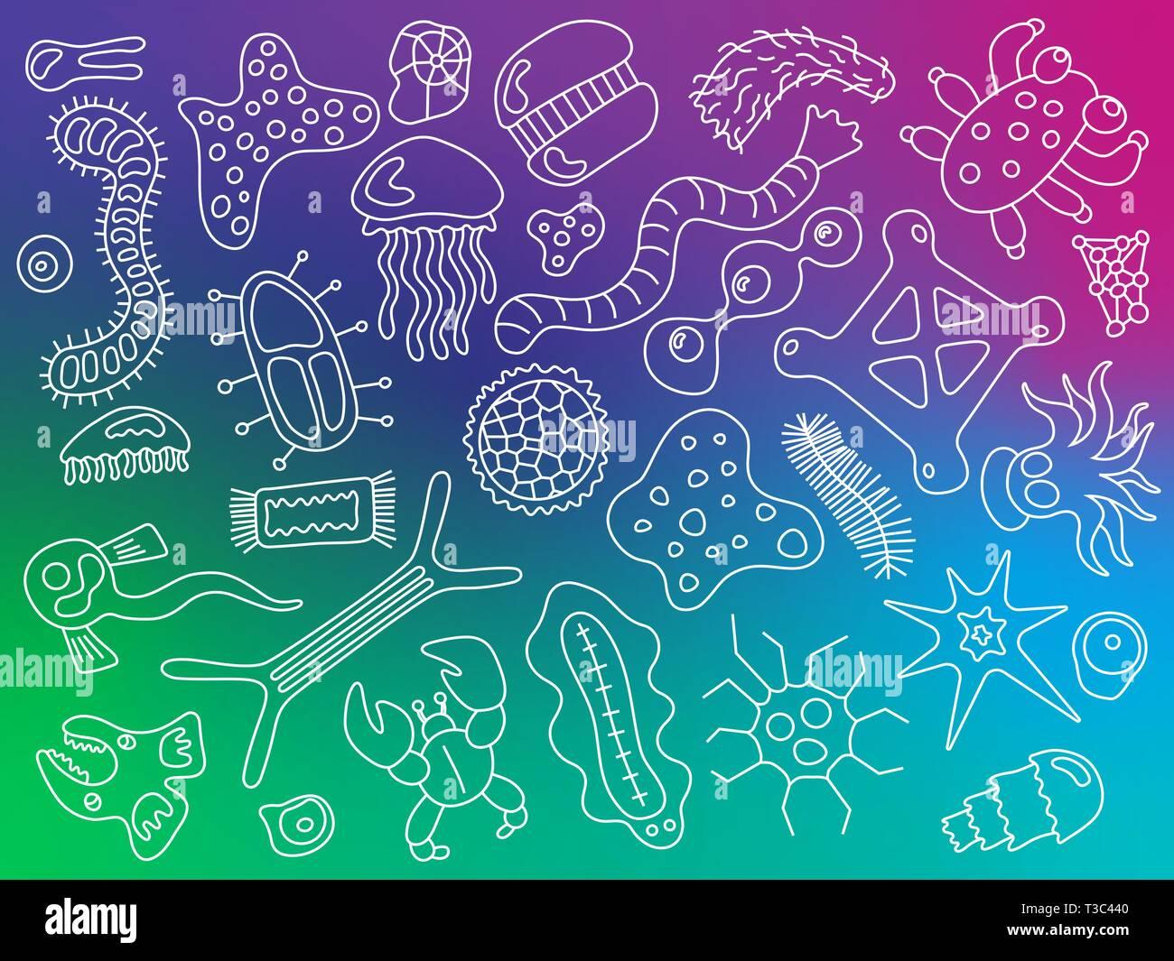 Vari microrganismi sulla colorata gradiente dello sfondo pattern. Sfondo con germi infettivi, protisti, microbi, malattia provocando batteri e virus. Immagini Stock