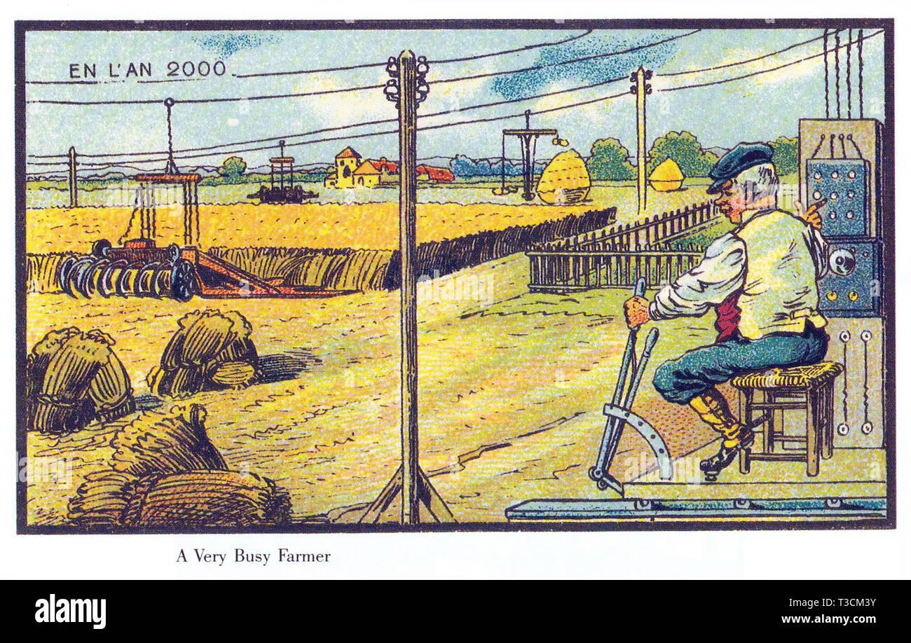 Nell'anno 2000 serie francese di illustrazioni pubblicati tra il 1899 e il 1910 immaginario che mostra i progressi tecnologici.la raccolta automatizzata. Immagini Stock