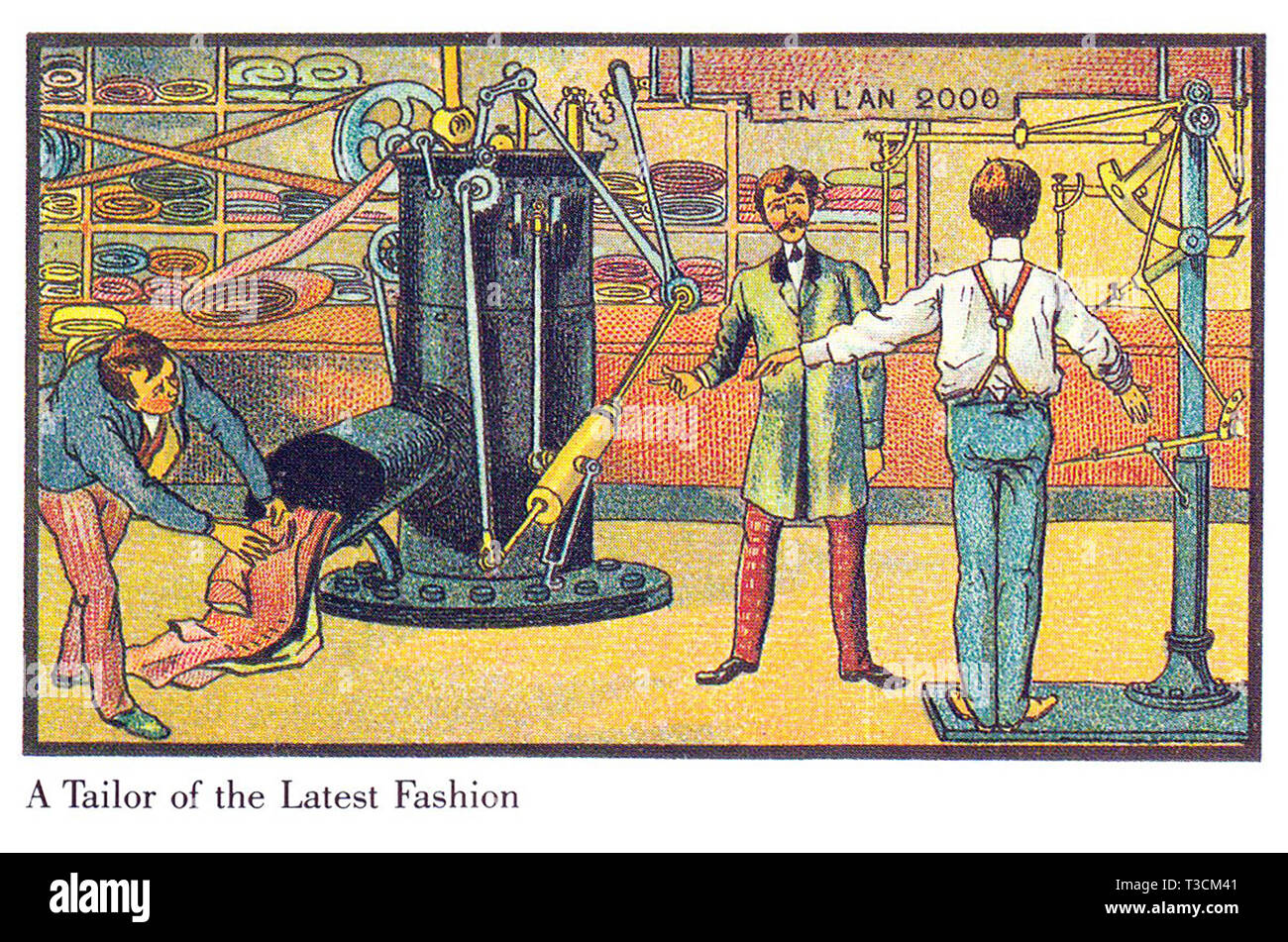 Nell'anno 2000 serie francese di illustrazioni pubblicati tra il 1899 e il 1910 immaginario che mostra i progressi tecnologici. L'ultima moda per uomo prodotta automaticamente. Immagini Stock