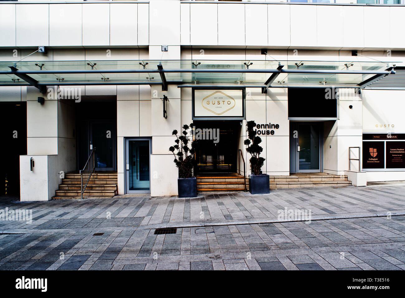 Gusto Ristorante Italiano, Pennine House, Leeds, Inghilterra Immagini Stock