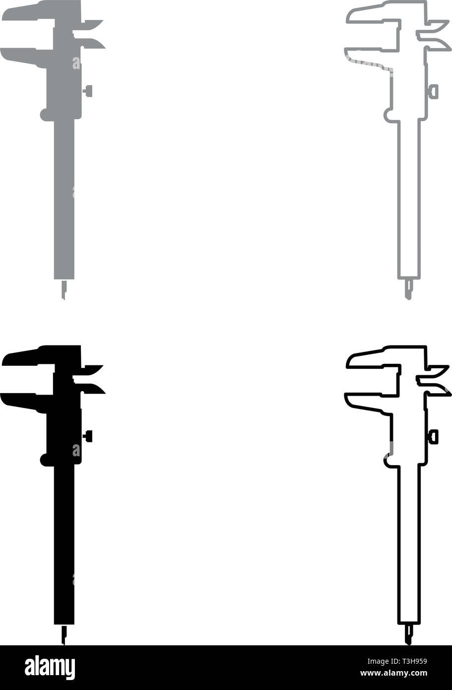 Mano a pinza pinza pinza scorrevole del calibro a corsoio calibro gage slitta gage Trammel icon set nero colore grigio illustrazione vettoriale stile piatto semplice Immagini Stock